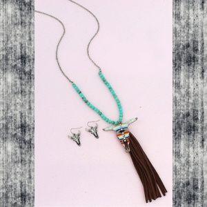 Jewelry - Steer head tassel turquoise necklace earring set